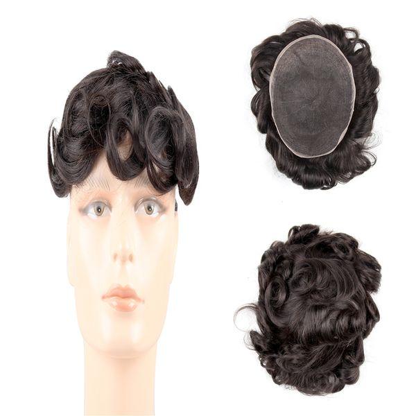 Human Hair Toupee for Men Gents Hairpiece Thin Skin full lace hair 130% density 100% virgin wave men's hair