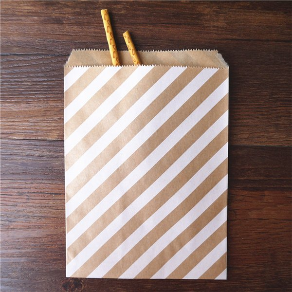 50pcs/ Lot treat candy bag high quality Party Favor Paper Bags Chevron Polka Dot Stripe Printed Paper craft Bags Bakery Bags