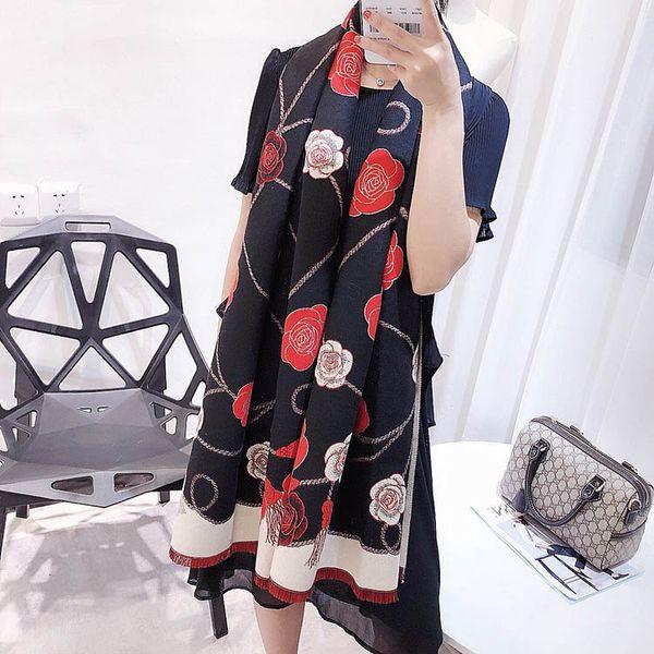 2018 Women's camellia Scarves 170*70cm Long Imitation Cashmere Scarfs Elegant lady's Scarf Female Classic Brand Designer Thick Muffler Neckw