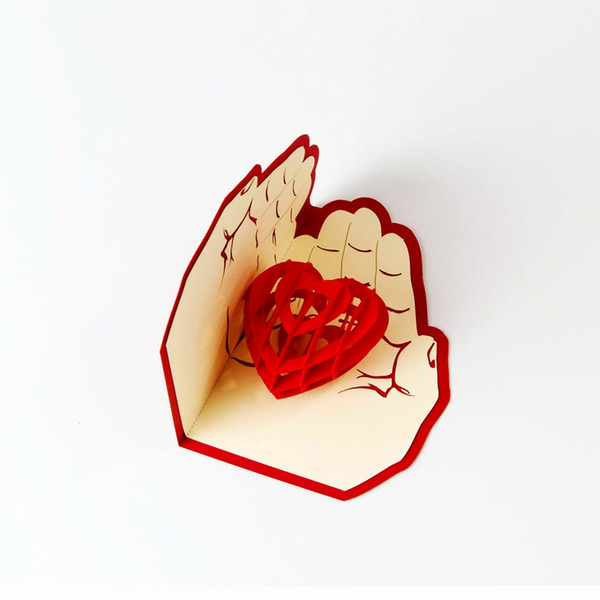 Valentines Day Gift Love in the Hand 3D Pop up Greeting Card Postcard Matching Envelope Laser Cut Handmade Birthday Post Card
