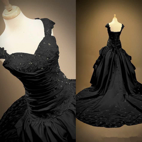 Gothic wedding dre e black atin wedding ball gown weetheart cap leeve applique lace bead cor et lace up bridal gown weep train