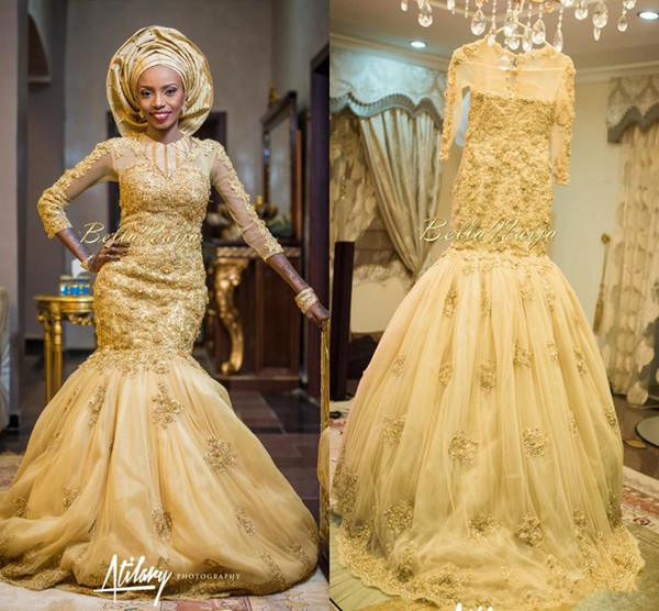 2018 Gold African Traditional Lace Wedding Gowns Beaded Jewel Neck 3D floral Beaded Appliques Long Sleeves Tulle Chapel Train Bridal Gowns