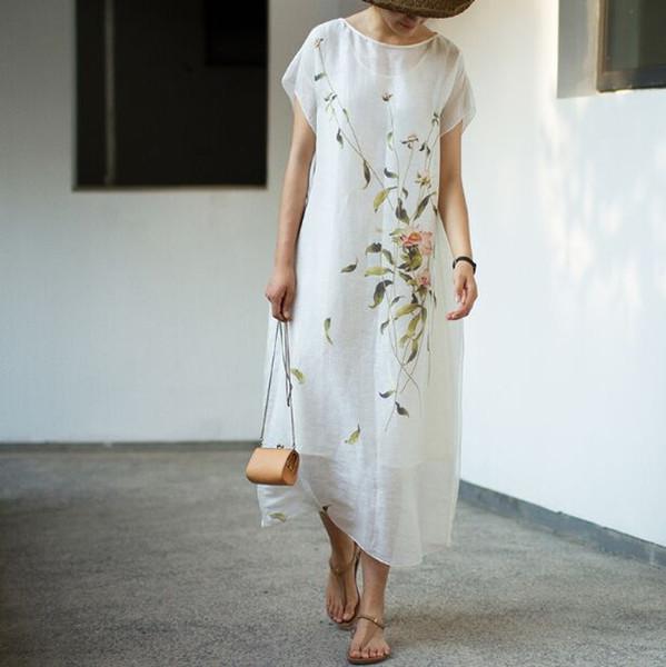 Compre Mezcla De Seda De Lino De Verano Nueva Mezcla De Mujeres Pintada A Mano Vestido Suelto Blanco S60 A 18654 Del Tuhua Dhgatecom