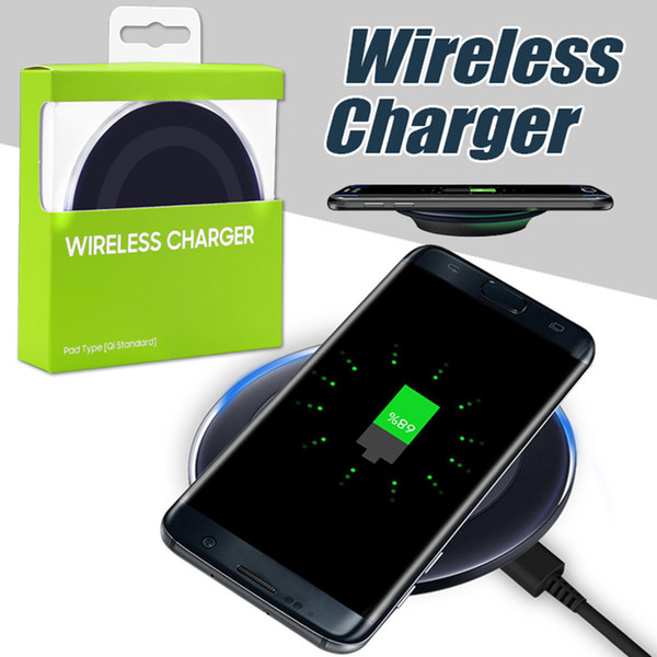 best selling For iPhone X Qi Wireless Charger Pad Wireless Charging Cord For Samsung Note 8 iPhone 8 Plus Galaxy Note 5 with USB Cable in Retail Box