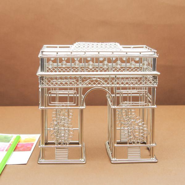 Compre Expedição Livre J39 Arc De Triomphe Estátua Arame Modelo Inoxidável Artesanato Feito à Mão Casamento Aniversário Casa Jardim Escritório