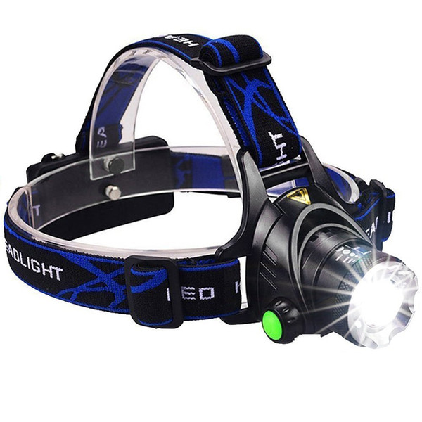 Rechargeable CREE XML T6 5000Lumens Zoom Lampe frontale torche LED Phare Phare Lampe de poche Lanterne Pêche de nuit