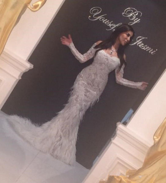 yousef aljasmi Special Occasion Prom Dresses 2018 Myriam Fares middle east V-Neck Long Sleeve Feathers Mermaid Evening Dresses