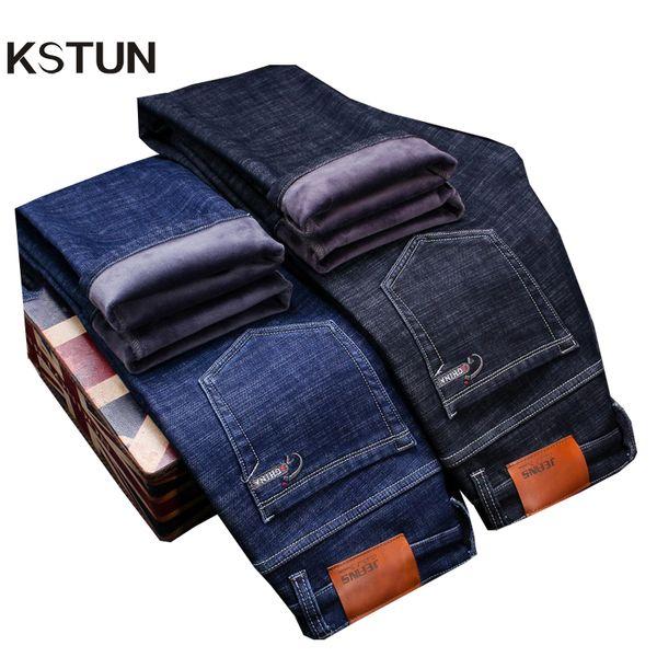 KSTUN Jeans Männer Winter Schwarz Klassische Business Casual Dünne Gerade Verdicken Fleece Stretchy Warmer Jeans Hohe Taille Plus Größe 38