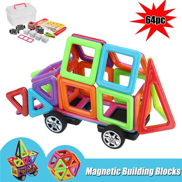 64Pcs Kids Magnetic Blocks Building Toys Educational Construction Magnet Tiles Children Gift