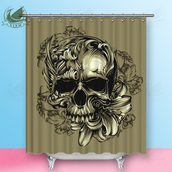 "Vixm Home Skull Butterfly And Sunflower Fabric Shower Curtain Boho Tribal Fashion Style Bath Curtain For Bathroom With Hook Rings 72"" X 72"""