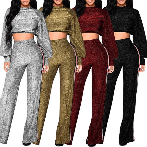 Bright Sequins Fabric Women's Two Piece Pants 2018 Newest Wide-legged Pants and Short T Shirt Long Sleeves High Neck Women Outfits Fashion