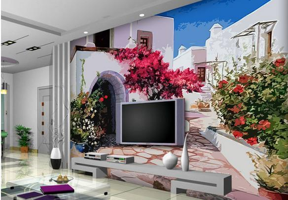 wall mural photo wallpaper HD woodcut effect serenity in the town decorative painting background wall