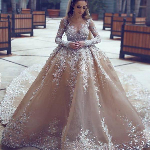 Acheter Strass Arabe Mariage De Luxe Robe Magnifique Perles Manches Longues  À Roues Alignées De Mariée Sirène Robe De Mariée Superbe Dubai Robes