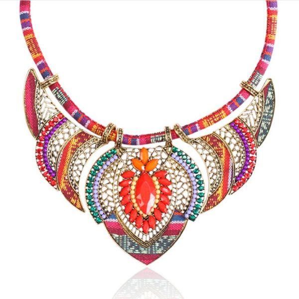 luxury jewelry designer necklace ethnic Bohimian necklace colorful rope weaving wholesale ot fashion free of shipping