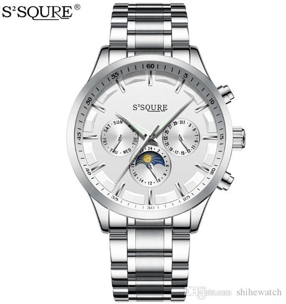 S2SQURE S004 Fashion Automatic Watch Men Moon Phase Waterproof Men Multifunctional Mechanical watch Stainless Steel Wristwatches
