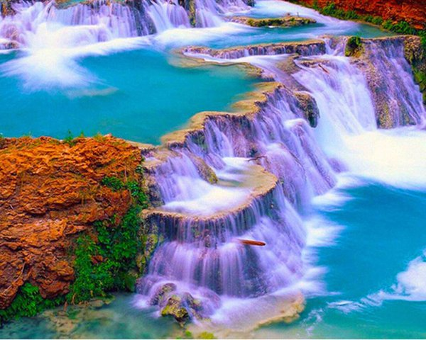 New Diy Diamond Painting Cross Stitch Color Falls Natural Landscapes Square Full Diamond Diamond Embroidery Home Decoration