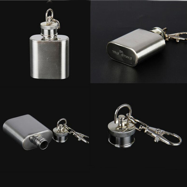 1OZ About 28ML Big Size Hip Flask Keychain Wine Stainless Steel Mini Pocket Wine Water Kettle Bottle Whiskey Liquor Hip Flasks Screw Cap