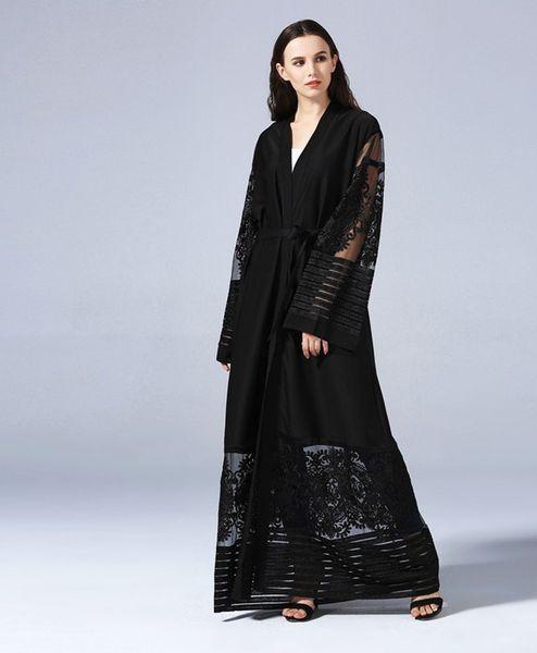 top popular Top Quality Women Elegant Muslim Cardigan Abaya Arab Turkish Embroidered Lace Net Cardigan Coat Dubai Muslims Women Maxi Dresses 2021