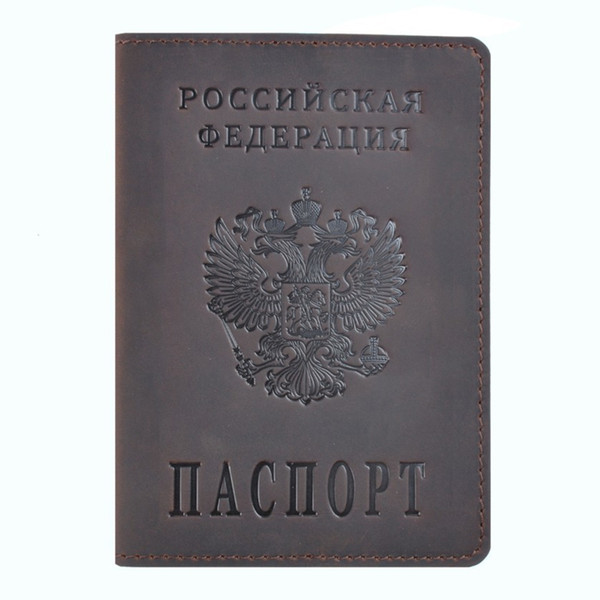 100% Genuine Crazy Horse Leather Passport Cover Designed For Russian Federation Business Card Holder Bilingual Passport Case