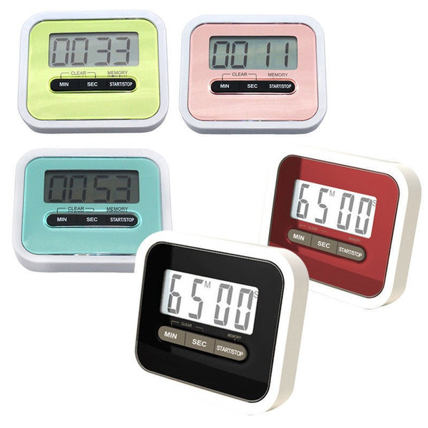 Slim Magnetic LCD Digital Kitchen display Timer Count Up Down Egg Cooking Alarm with magnet stand clip random colour Digital Kitchen