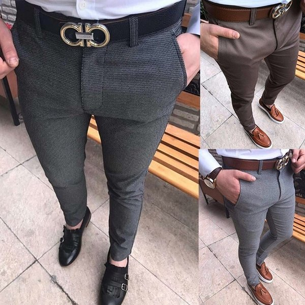 High Fashion Man's Casual Silm Trousers Work Pants Classic Office Solid Business Dress Pants Male Skinny Suit Pants