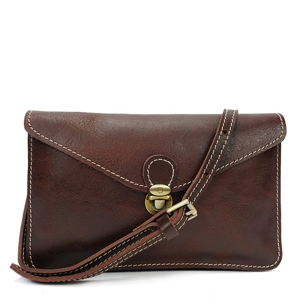 Woman Genuine Leather Crossbody Bag Fashion European Style Cow Leather Single Shoulder Bag Multi Pocket Brown/Coffee Hand
