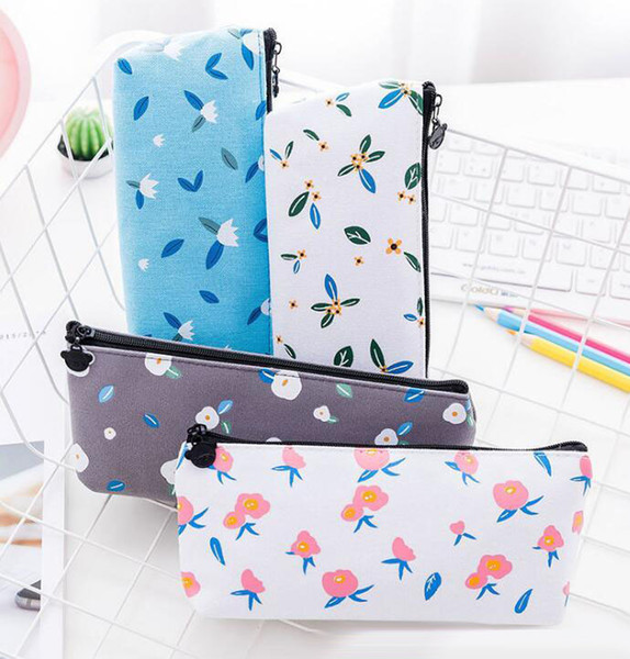 Exquisite student pen bag nice canvas pencil case cute print pencil bag 4 color free shipping