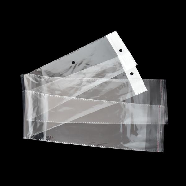 10.5x62cm Paquete de peluca de plástico transparente OPP Bolsa autoadhesiva Larga Transparente Bolsas de embalaje de polietileno Extensión del cabello Bolsa de embalaje Bolsa de embalaje
