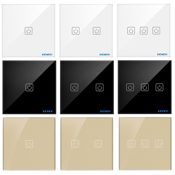 BDNOA European Standard 1/2/3 Port Crystal Glass Panel Light Switch, Wall Light Switch Touch Switch Induction Touch