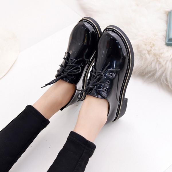 Botas femininas appartements bottines marque printemps court bottes à lacets chaussures femmes britanniques style martin chevalier bottes taille 35-39