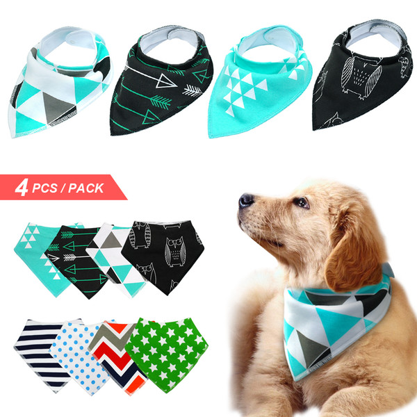 4pcs Dog Bandana Bib Scarf Cotton Pet Dogs Grooming Accessories Collar Bandage For Medium Large Pet Fashion Design