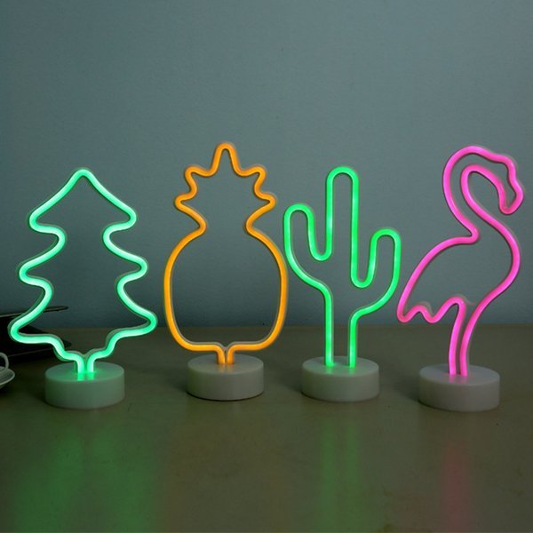 LED Neon Light Cactus Night Lamp Wall Table Desk AA Battery Neon Sign Marquee Children'S Gift Holiday Decor Night Lighting