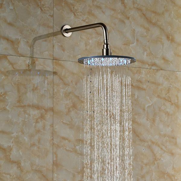 Ücretsiz Kargo 10 inç Pirinç Yuvarlak Duş Başlığı Duvara Montaj LED Renk Değiştirme Duş Musluk Başkanı Fırçalanmış Nikel