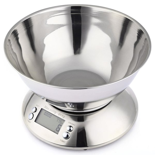 Stainless Steel Kitchen Scales Electronic Digital Weight Scale Cooking Tool Food Balance Cuisine Precision with Bowl 5kg 1g