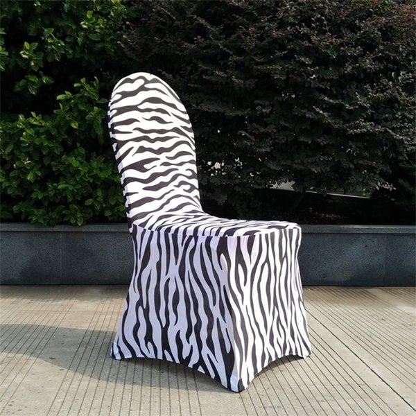 Engrosamiento de la impresión de la cubierta del asiento Elastic Force Ceremonia de la boda Cubiertas de la silla Zebra Stripe Negro Blanco Personalidad Sin hebilla 16 5dm jj