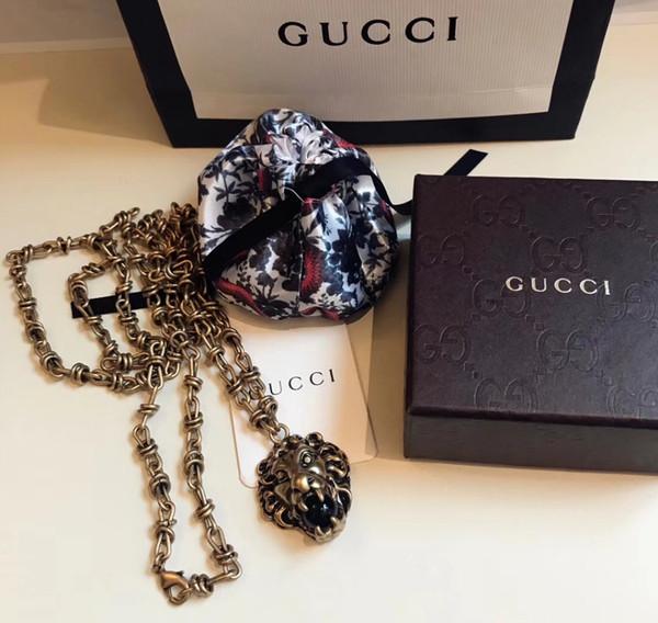 Italy Luxury Designer 19ss Long Men's Necklace Pendant Necklaces Lion Shaped Hip Hop Necklace No Box