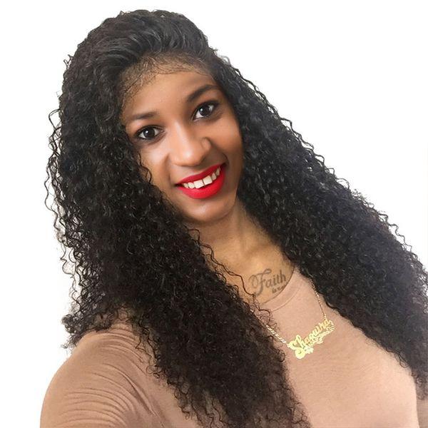 Siyah Kadınlar Öncesi Mızraplı Brezilyalı Remy% 150 Yoğunluk Dantel Frontal Peruk Tam For The End Dantel Açık Peruk Kinky Kıvırcık İnsan Saç Peruk