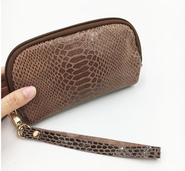 Genuine Leather Coin Purse Snake Skin Print Mini Wallet Women Card Holder Genuine Cow Leather Wallet Sapphire Blue Khaki Brown