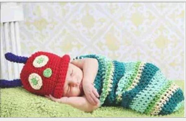 Yeni doğan Bebek Çocuk şapka Tırtıl uyku tulumu Fotoğraf Sahne yenidoğan fotoğraf sahne GA394