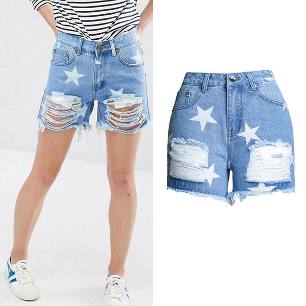 Summer Ripped Denim Shorts Women New Hole Design Middle Waist Jeans Shorts for Lady Slim Star Printed Plus Jeans Short Feminino