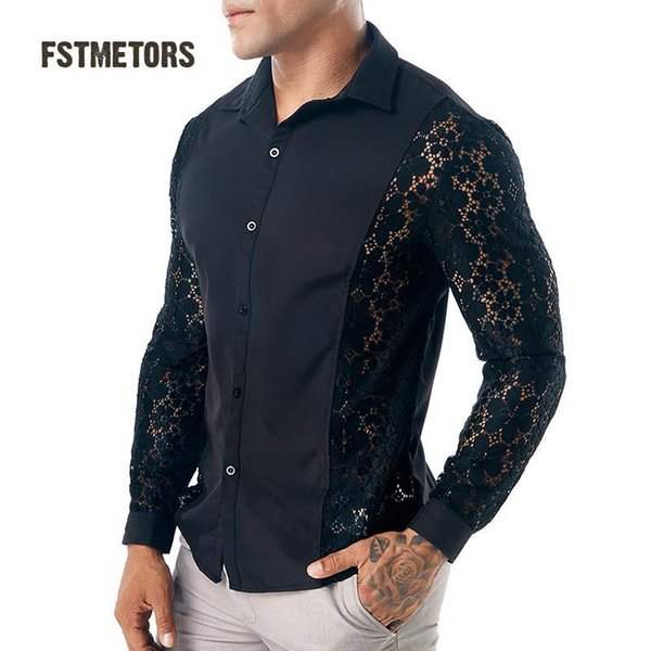 2018 Fstmetors Autumn Winter Style Arms All Lace Pure Color Fashion Design Men's Long Sleeved Lapel Shirts Men's Shirts C18111601