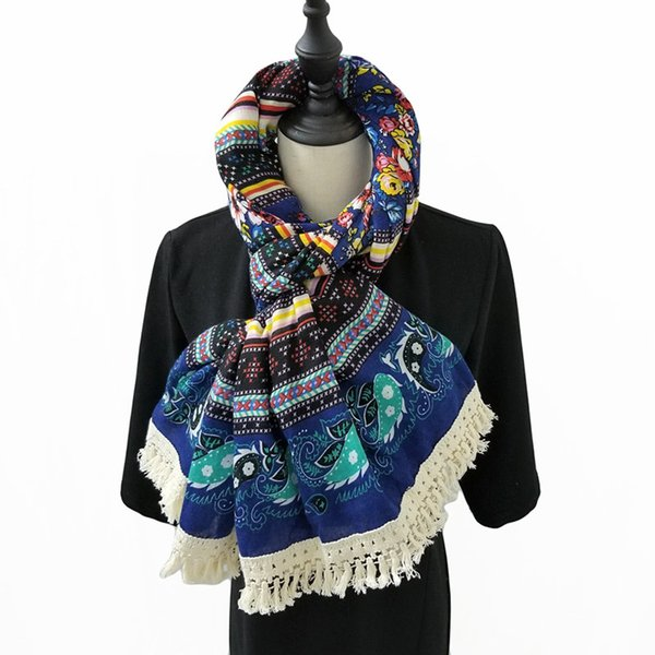 Women Ethnic Scarf Paisley Floral Hijab Cotton Blanket Scarf Vintage Head Scarf Large shawls and wraps Brand Hot [1938] D18102406