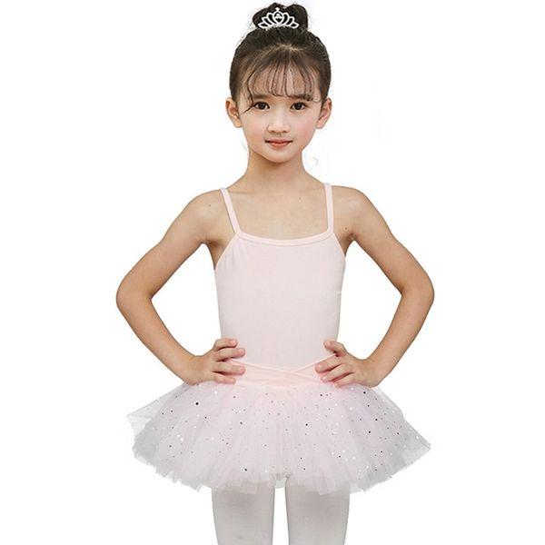 Vestido de desgaste de la danza del ballet de las muchachas Vestido de fiesta de baile de hadas de la bailarina Estrella de lentejuelas Hermoso vestido leotardo gimnástico vestido del tutú
