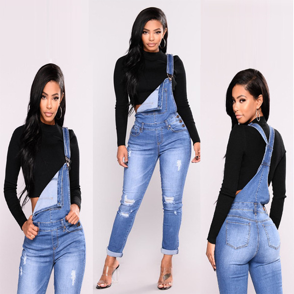 Ripped Overalls Jeans Denim Joggers Knee Holes Slim Fit Women Blue Rock Star Womens Jumpsuit Destroyed Jeans Boyfriend Pencil Pants S-3XL