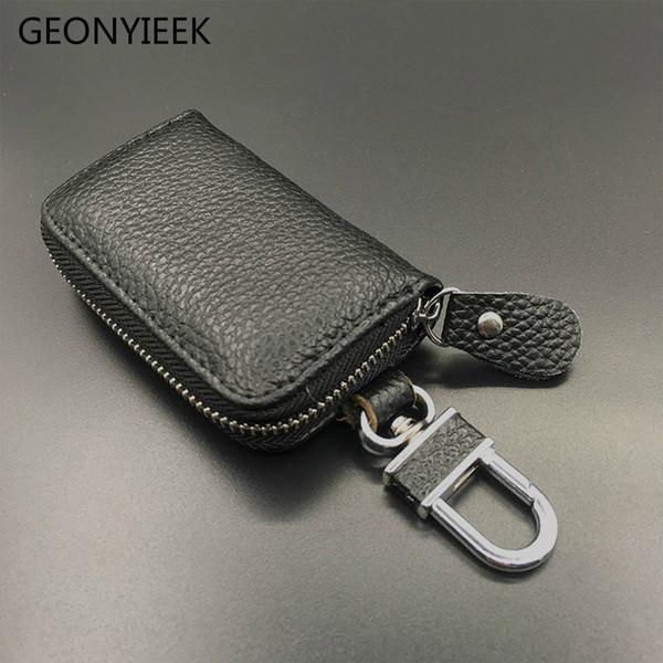Genuine Leather Car Key Wallets Men Key Holder Housekeeper Keys Organizer Women Keychain Covers Zipper Case Bag Pouch Purse