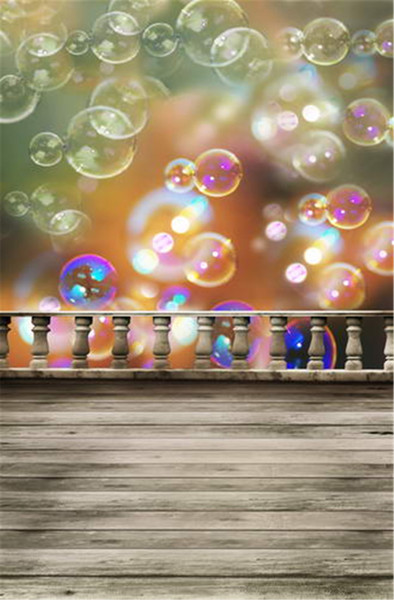 Digital Printing Bubbles Bokeh Photography Backdrop Baby Newborn Photo Props Kids Children Birthday Party Photographic Background Wood Floor