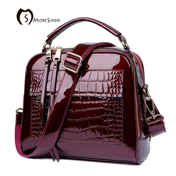 Moreshine Brand Women Real Patent Leather Handbags Crocodile Fashion Design Shell Bag Female Luxurious Shoulder Bags Tote Bolsas