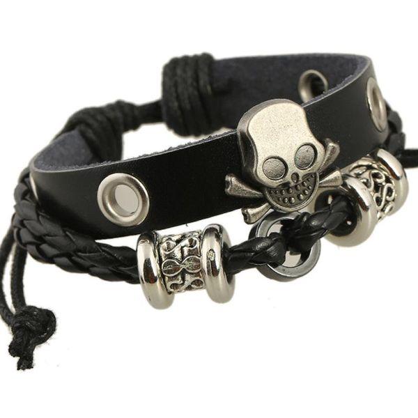 Vintage Black Leather Bracelets Men Jewelry Punk Charm Skull Bracelet Women Armband Braclet Femme Gift for Friends