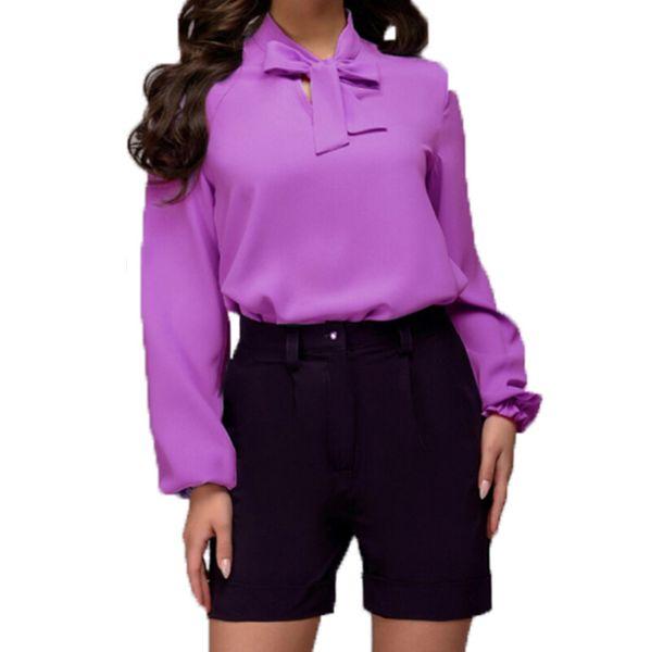 Femme Femmes Manches Longues Chemisier Mousseline Col V Wrap Front T Shirt travail Top wrkl