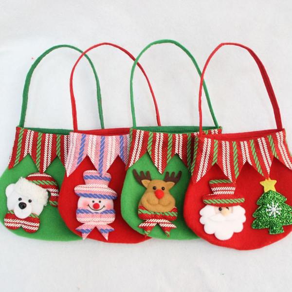 Mais novo Saco de Maçã de Natal para Presentes Doces Bolsas de Mão Crianças Bolsas de Decoração De Natal Boneco De Neve de Cerveja Papai Noel Saco de Mão de Presente para As Crianças